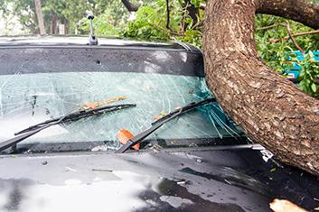 a broken car windshield